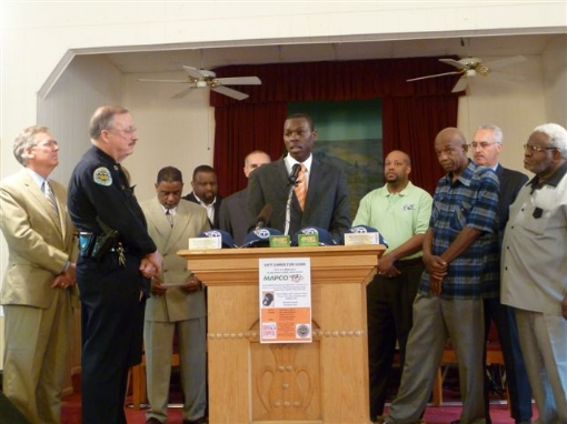 Photo Caption:  Pastor Frank Stevenson today joined Chief Steve Anderson, other Nashville clergy, District Attorney Torry Johnson, Juvenile Court Judge Sophia Crawford and Sheriff Daron Hall in urging citizens to take advantage of this Saturday's Gift Cards for Guns offer.