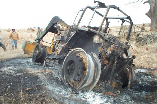 burned tractor