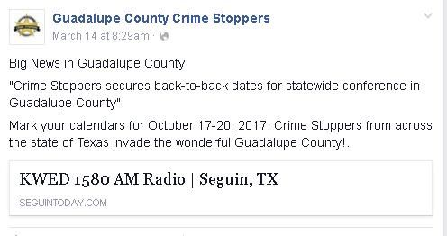 Guadalupe County Crime Stoppers Facebook post